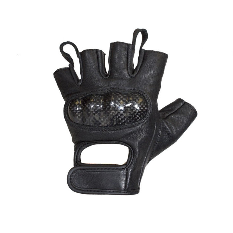 Mens Leather Motorcycle Fingerless Riding Gloves