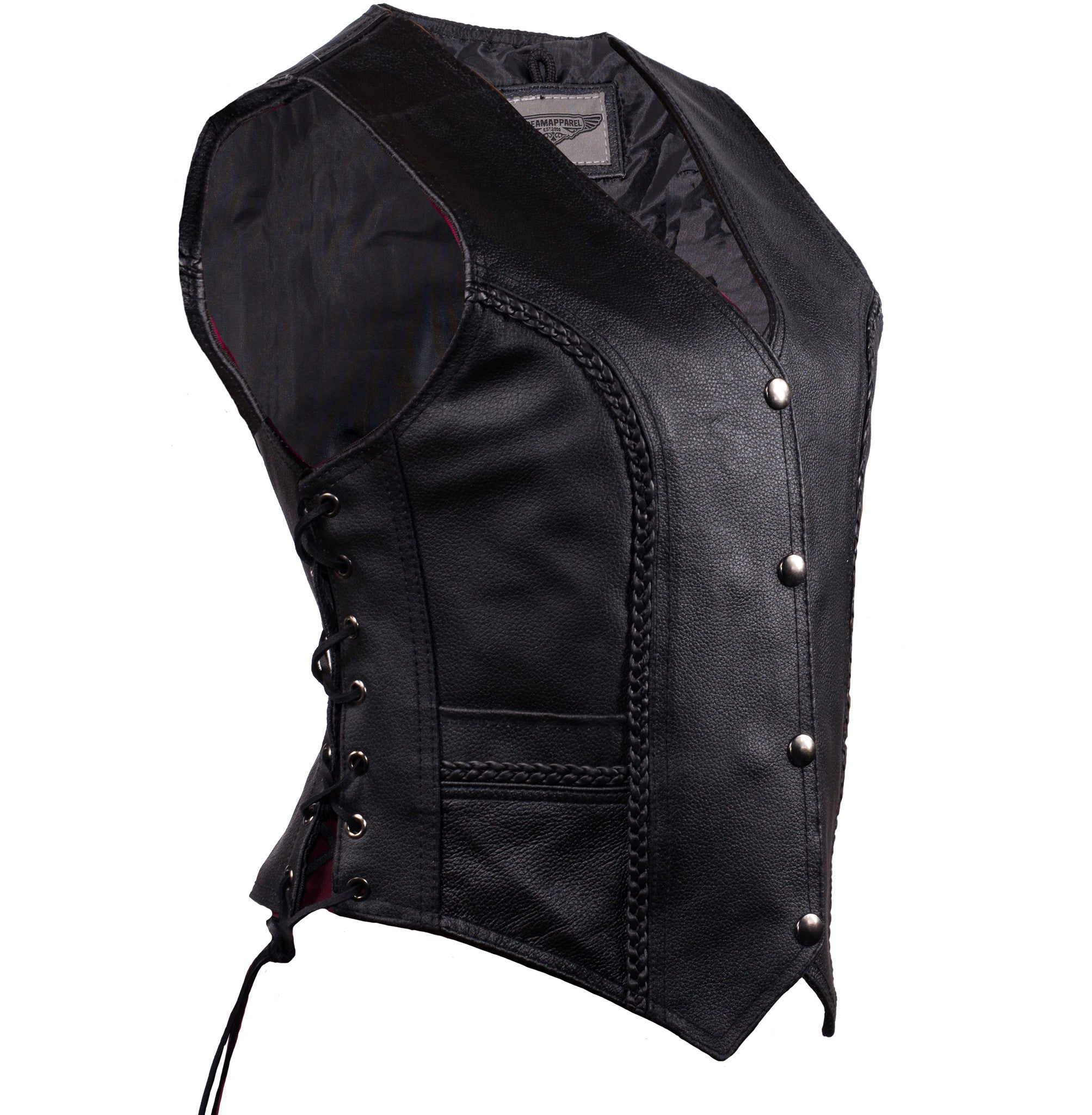 WOMEN'S RIDING LEATHER BRAIDED VEST SIDE LACES