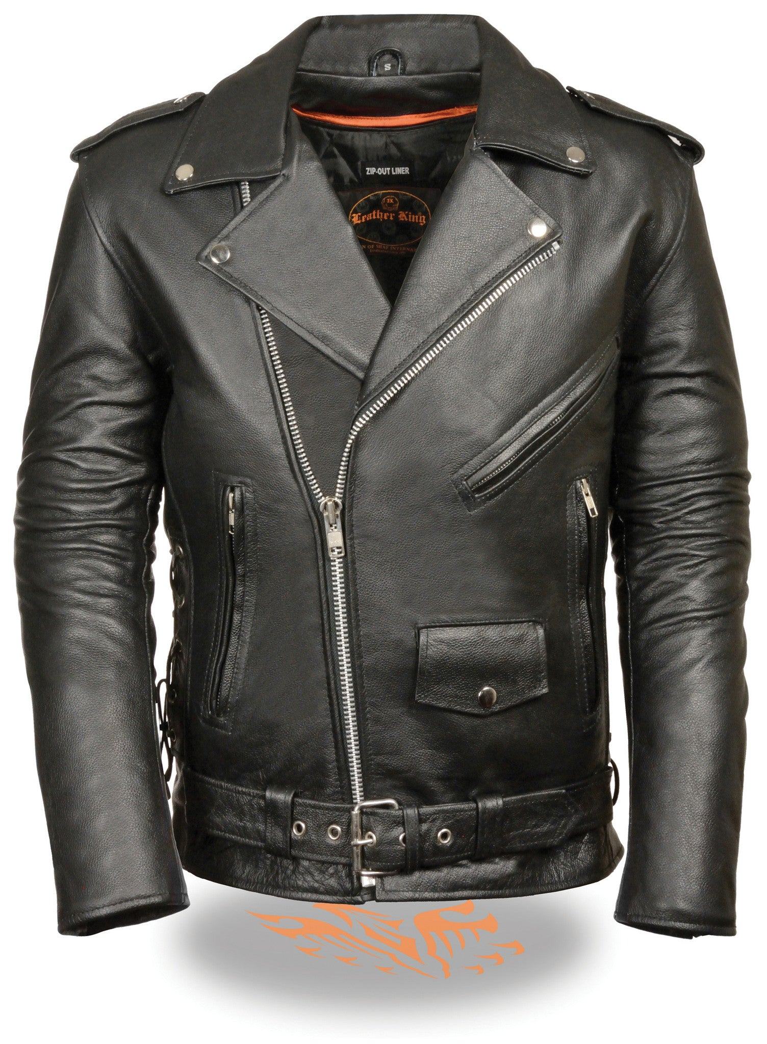 MEN'S MOTORCYCLE TALL JACKET W/ SIDE LACES POLICE TERMINATOR LEATHER JACKET