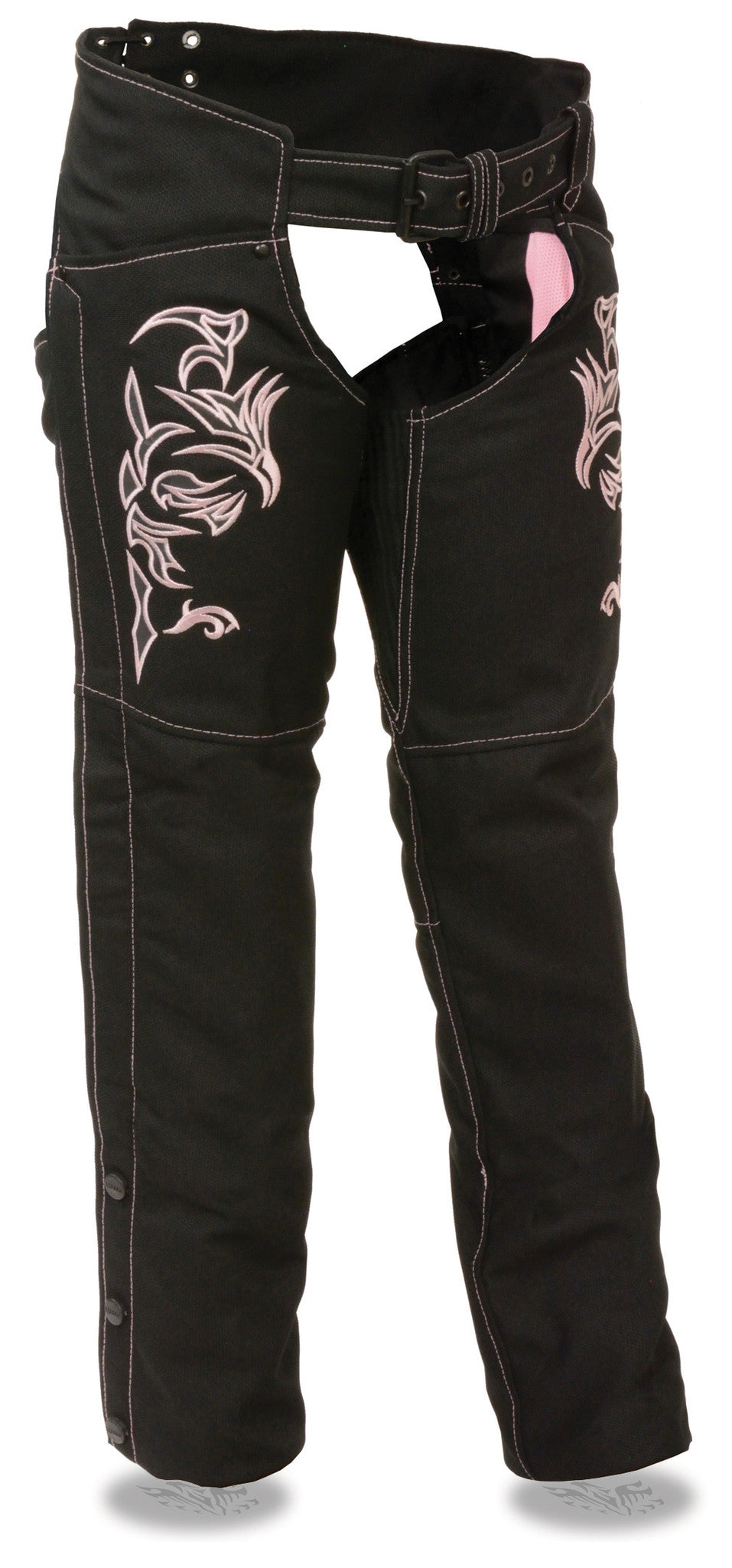 WOMEN'S MOTORCYCLE TEXTILE CHAP W/PINK REFLECTIVE EMBROIDERY