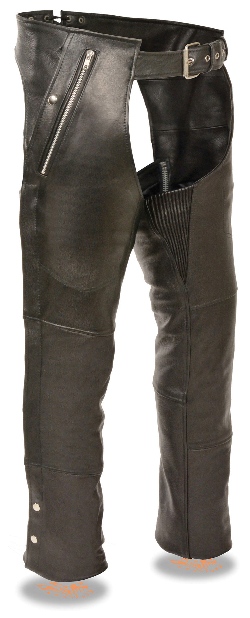 53fd5053dee4 MEN S MOTORCYCLE BLACK LEATHER RIDING CHAP PANTS