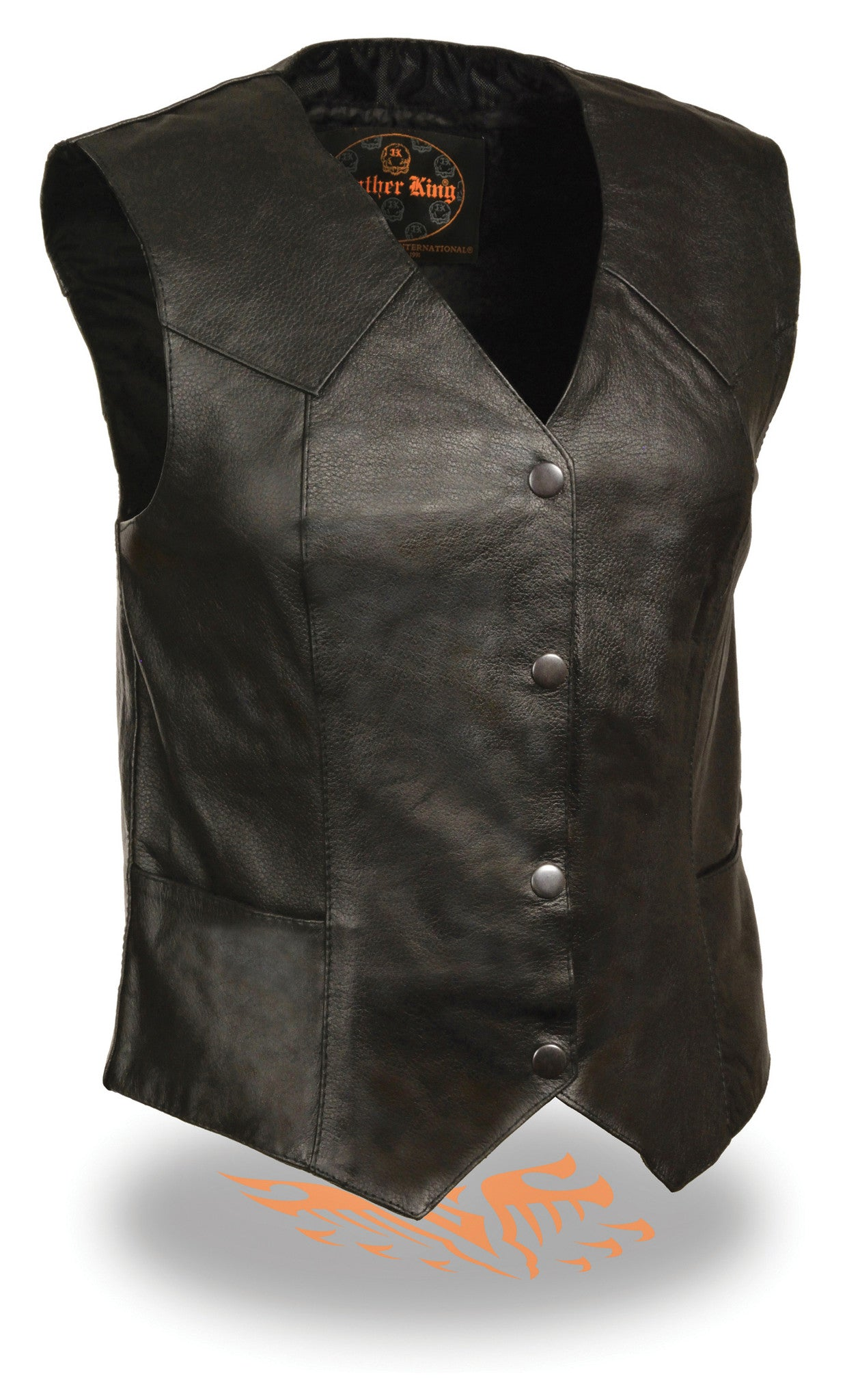 LONG LEATHER 4 SNAPS CLASSIC VEST DURABLE COW LEATHER