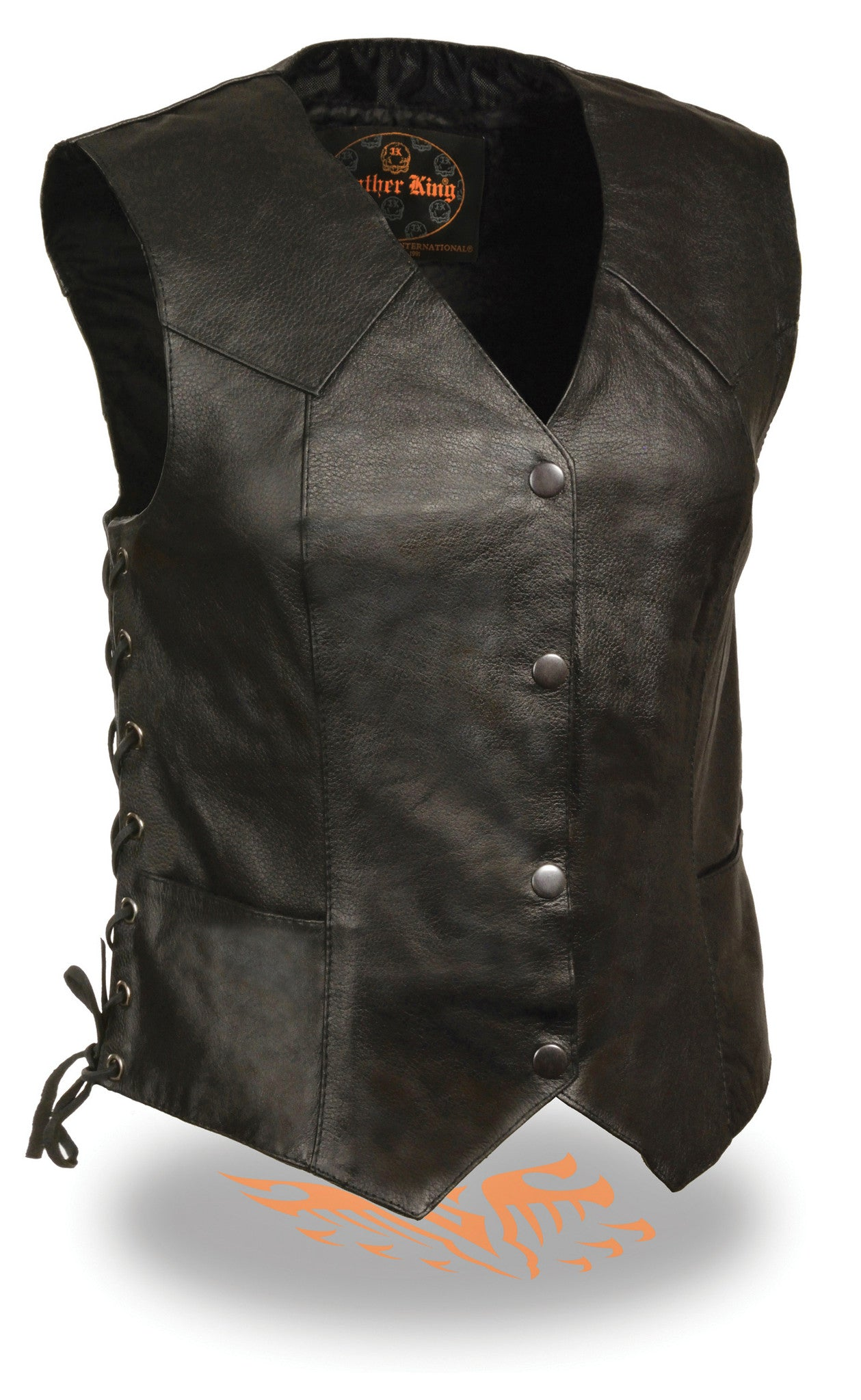 LONG LEATHER 4 SNAPS W/ SIDE LACES VEST