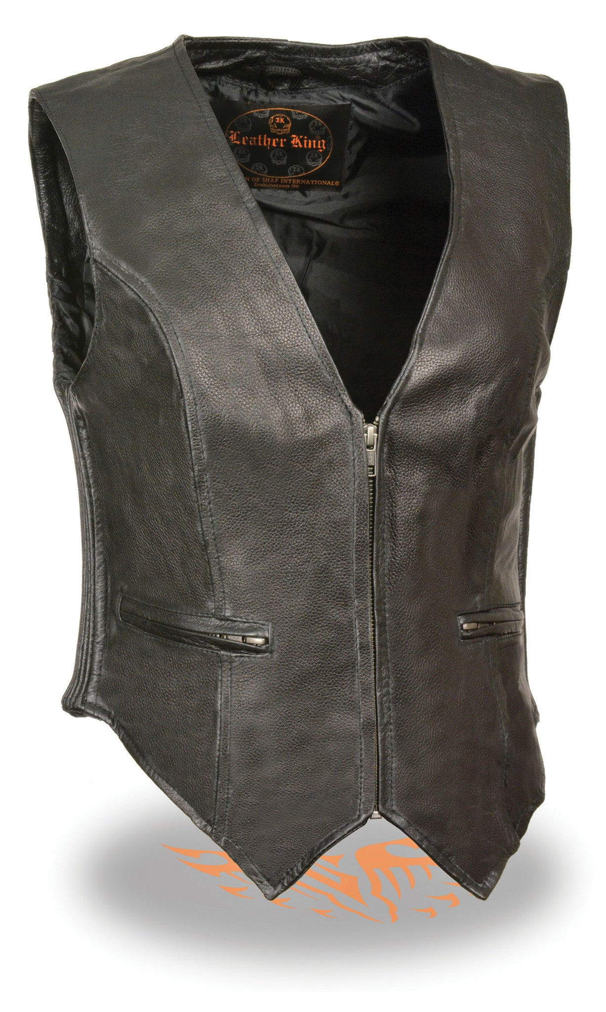 WOMEN'S RIDER LEATHER CLASSIC ZIPPER FRONT VEST SOFT LEATHER