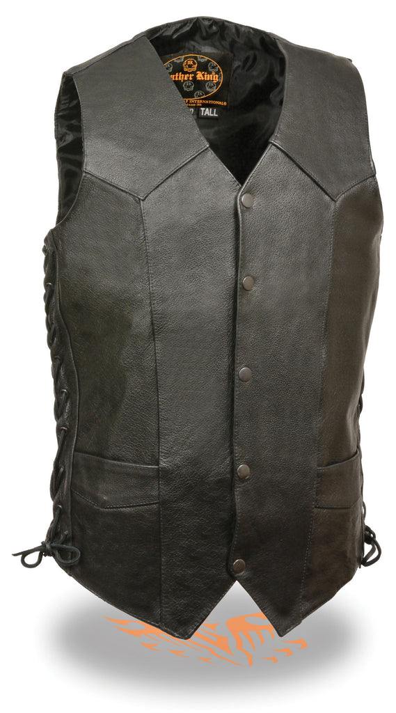 MEN'S TALL LENGTH BIKERS LEATHER VEST SOFT LEATHER SIDE LACES