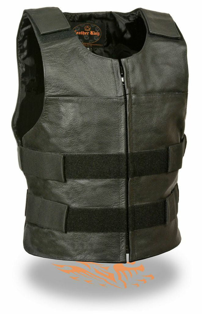 BULLETPROOF STYLE ZIPPER FRONT REPLICA BUFFALO LEATHER VEST