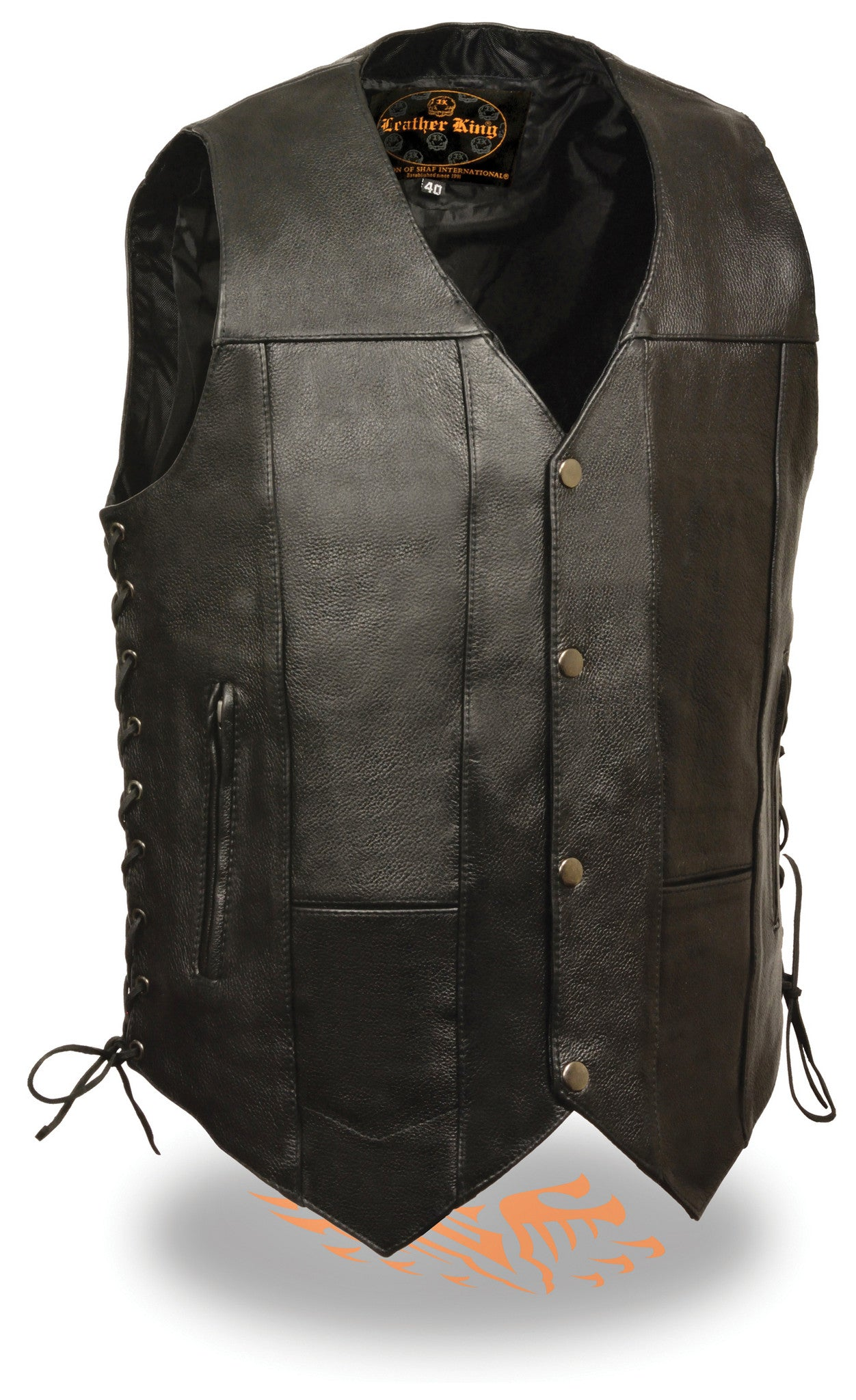 MEN'S MOTORCYCLE 10 POCKETS BIKERS REAL COW LEATHER VEST SIDE LACE SOFT BLACK