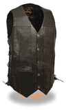 MEN'S MOTORCYCLE 10 POCKETS TALL LENGTH BIKERS LEATHER VEST SIDE LACE SOFT BLACK