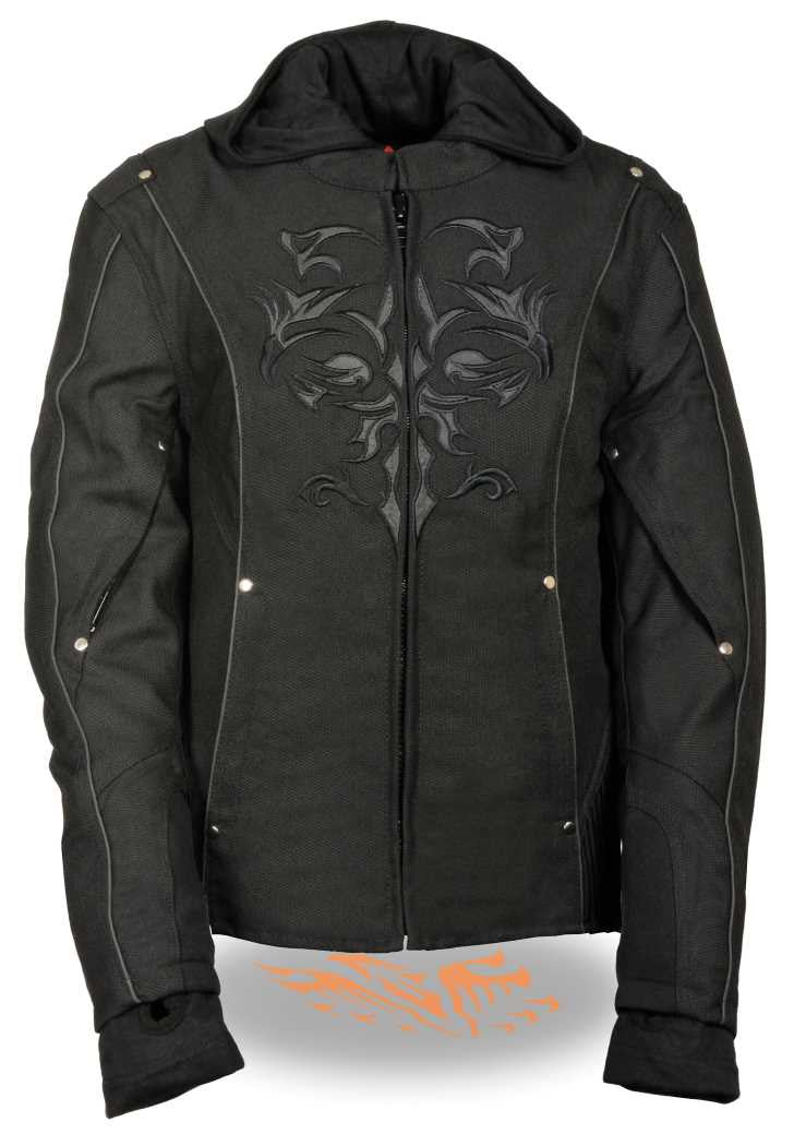 WOMEN'S MOTORCYCLE RIDING BLACK TEXTILE JACKET W REFLECTIVE TRIBAL
