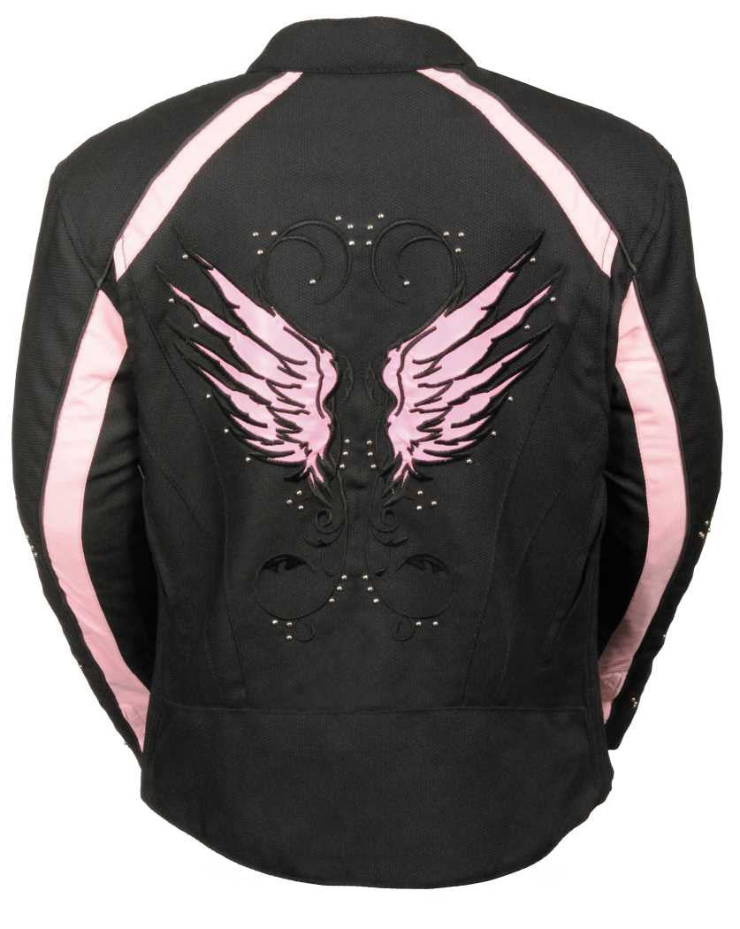 WOMEN'S MOTORCYCLE RIDING BLACK /PINK TEXTILE JACKET W STUD & WING