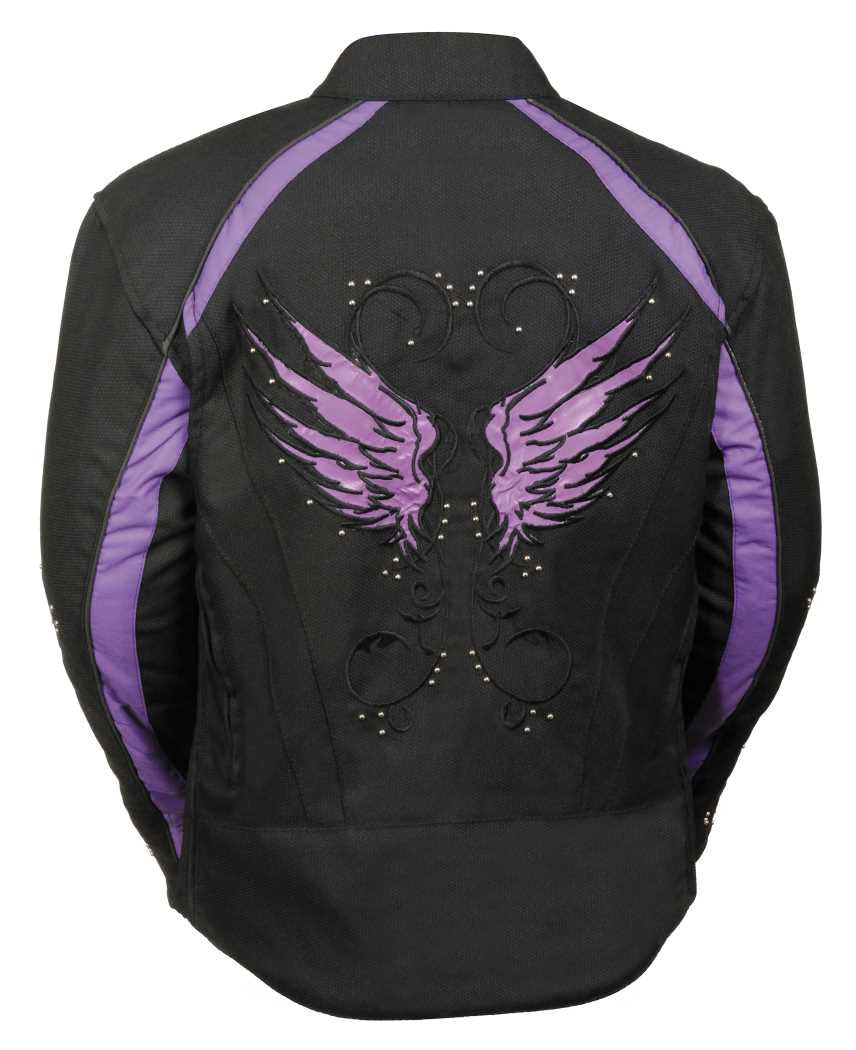 WOMEN'S MOTORCYCLE RIDING BLACK /PURPLE TEXTILE JACKET W STUD & WING