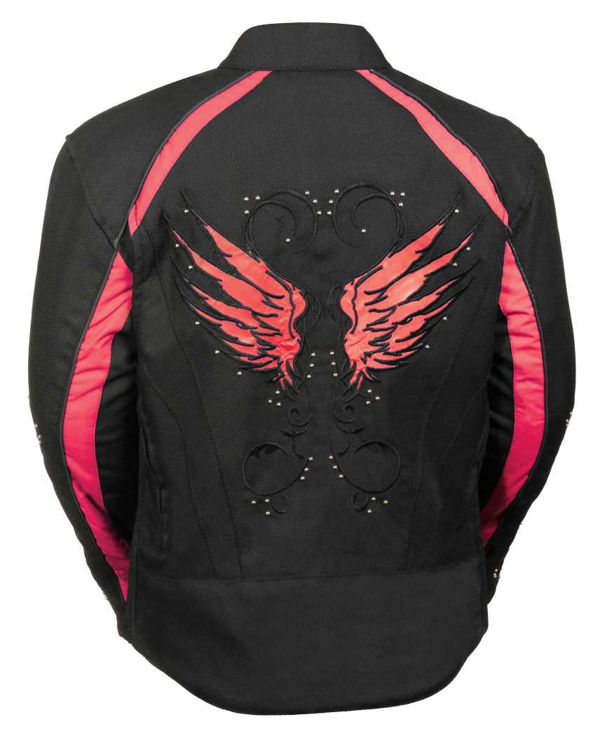WOMEN'S MOTORCYCLE RIDING BLACK /RED TEXTILE JACKET W STUD & WING
