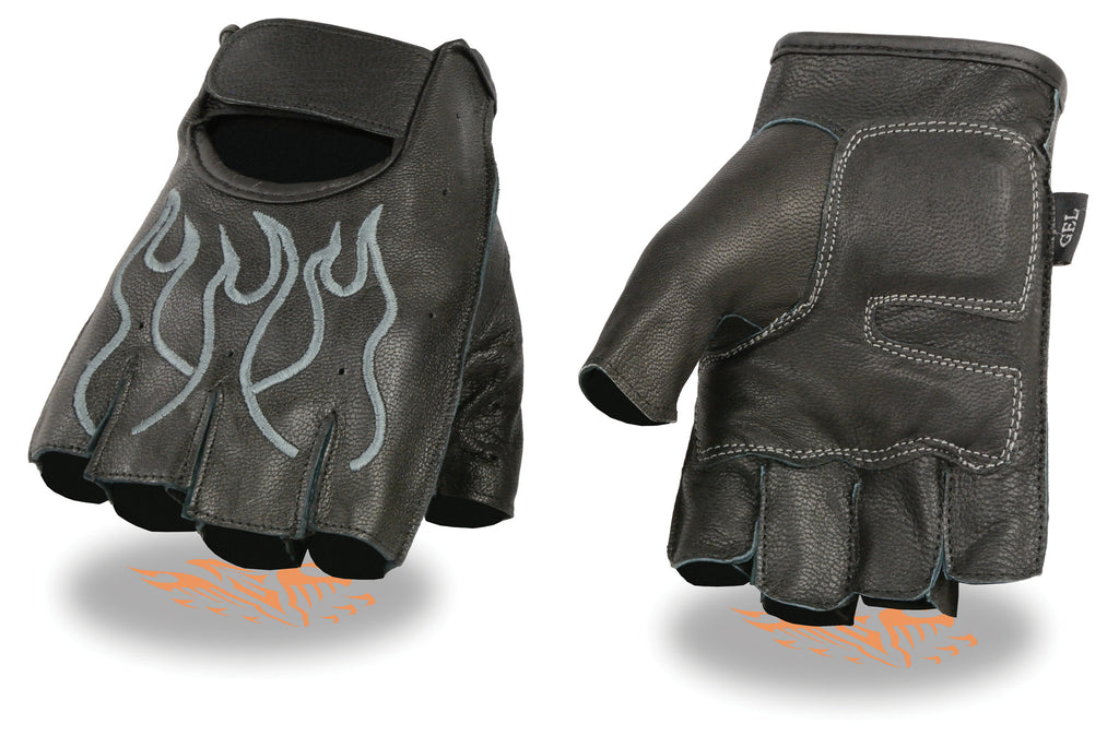 MEN'S MOTORCYCLE BIKE LEATHER FINGERLESS GLOVES BLACK GREY FLAMES
