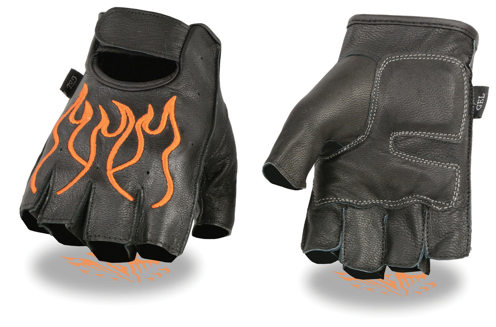 MEN'S MOTORCYCLE BIKE LEATHER FINGERLESS GLOVES