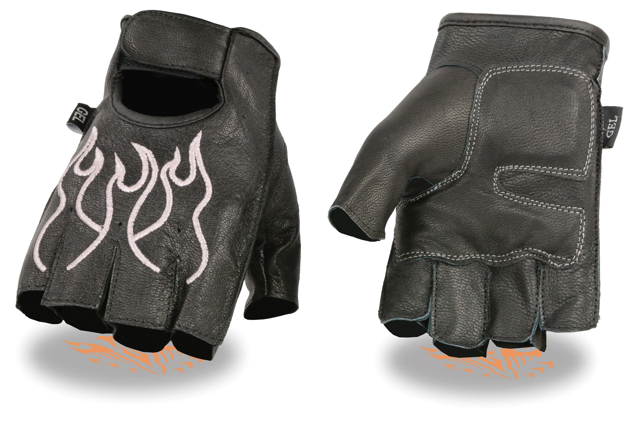 MEN'S MOTORCYCLE BIKE LEATHER FINGERLESS GLOVES BLACK PINK FLAMES