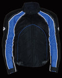 MEN'S BLK/ BLUE FULLY ARMOUR COMBO TEXTILE/ LEATHER JACKET