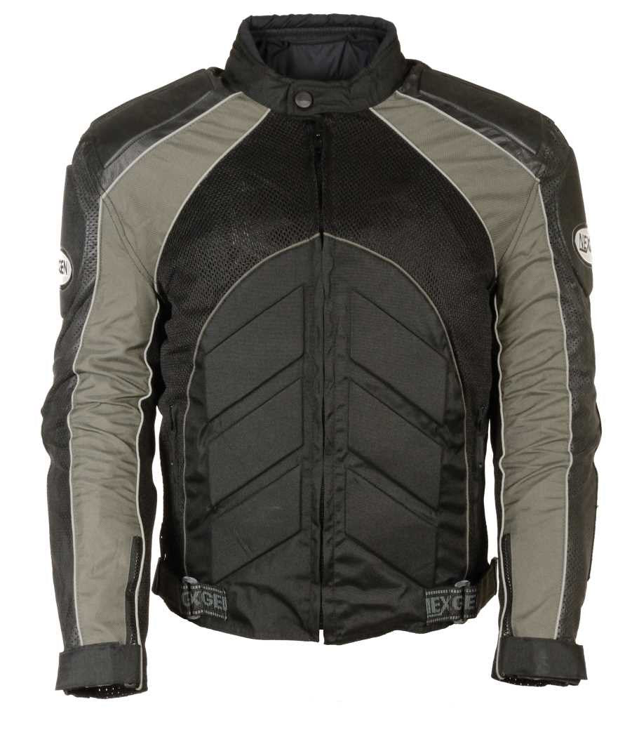 MEN'S BLK/ GREY FULLY ARMOUR COMBO TEXTILE/ LEATHER JACKET