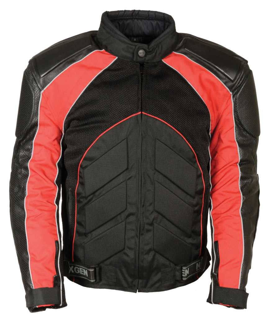 MEN'S BLK/ RED FULLY ARMOUR COMBO TEXTILE/ LEATHER JACKET