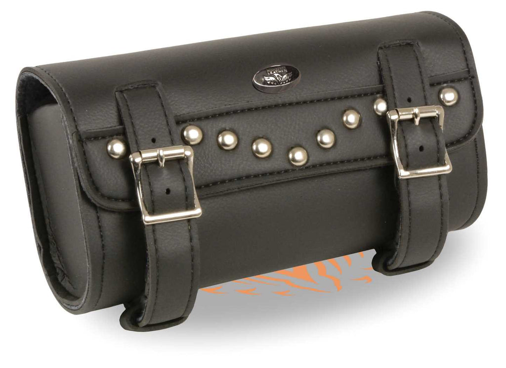 TWO STRAPS STUDDED TOOL BAG W/ QUICK RELEASE NEW BLACK