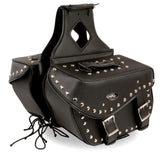 TWO PIECE SADDLEBAG STUDDED MOTORBIKE ZIP OFF PVC SADDLEBAG