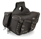 TWO PIECE SADDLEBAG BRAIDED & STUDDED ZIP OFF PVC SADDLEBAG