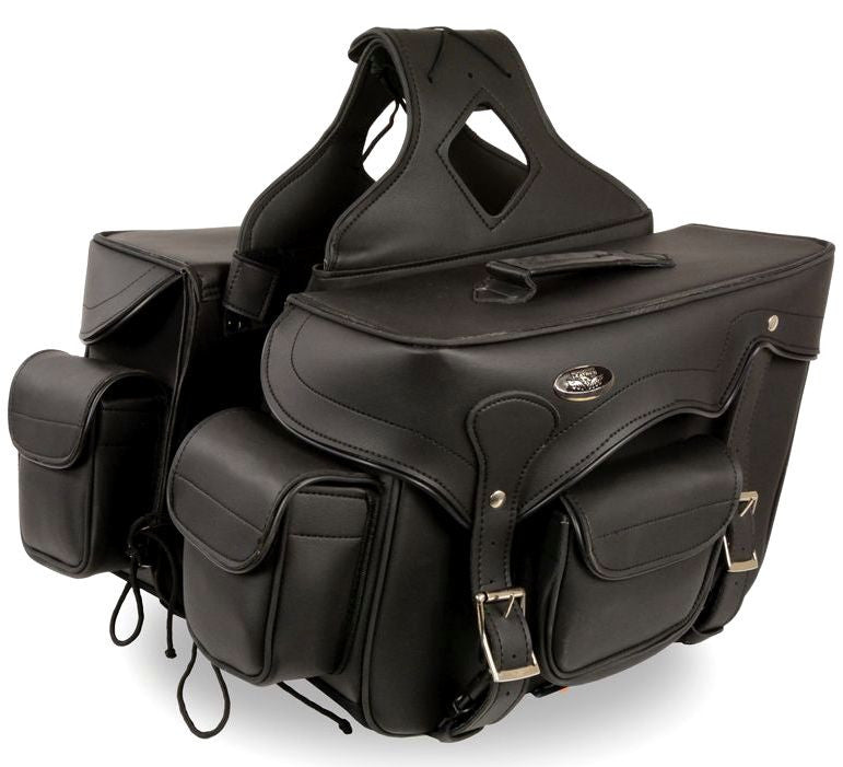TWO PIECE MOTORCYCLE LARGE DOUBLE STRAP ZIP OF PVC SADDLEBAG
