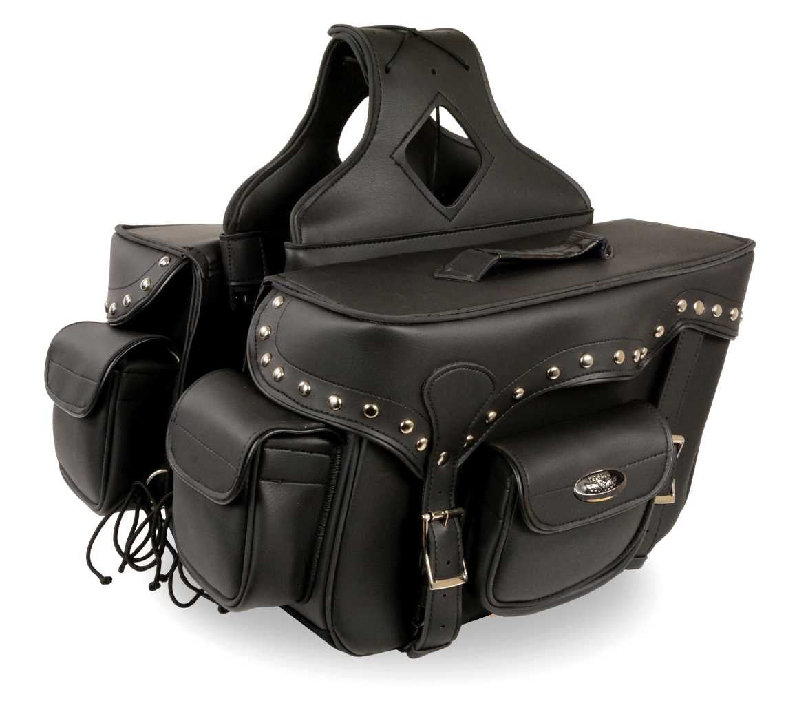TWO PIECE MOTORCYCLE STUDDED DOUBLE STRAP ZIP OFF SADDLEBAG
