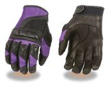 LADIES RACING GLOVES MESH/ LEATHER COMBO W/ PADDED KNUCKLE PROTECTION
