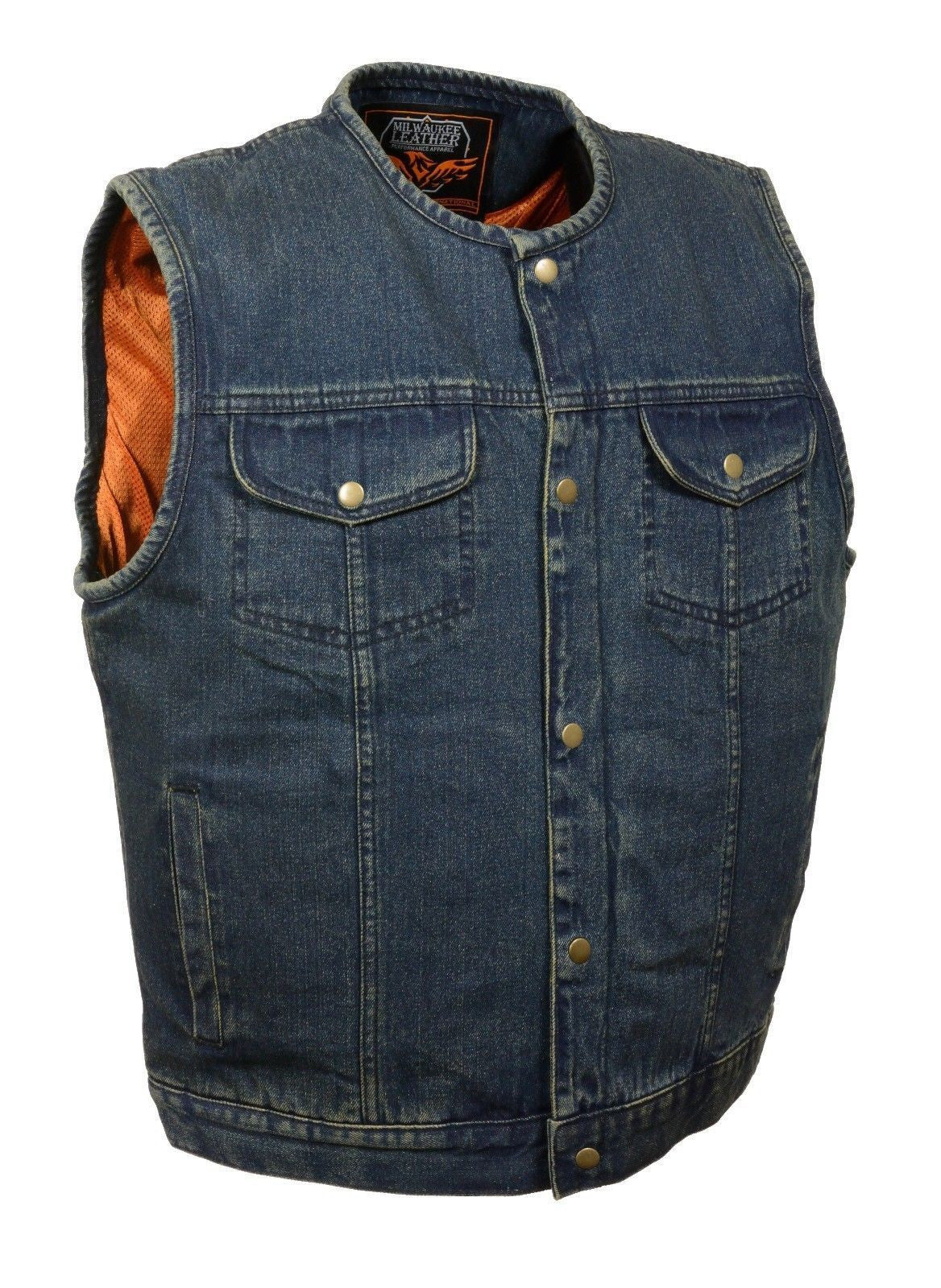 MEN'S BLUE DENIM VEST GUN POCKETS INSIDE W/ SNAPS