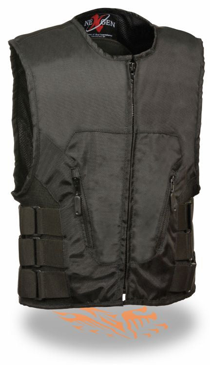 MEN'S TEXTILE TACTICAL SWAT STYLE VEST NEW BLACK VERY LIGHT