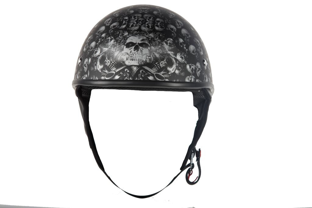 DOT APPROVED HELMET FLAT W/ SKULL GRAPHICS