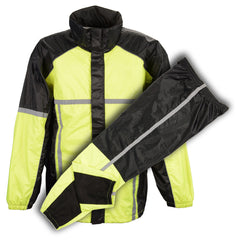 MEN'S MOTORCYCLE 100% NYLON RAIN SUIT GEAR BLACK & GREEN