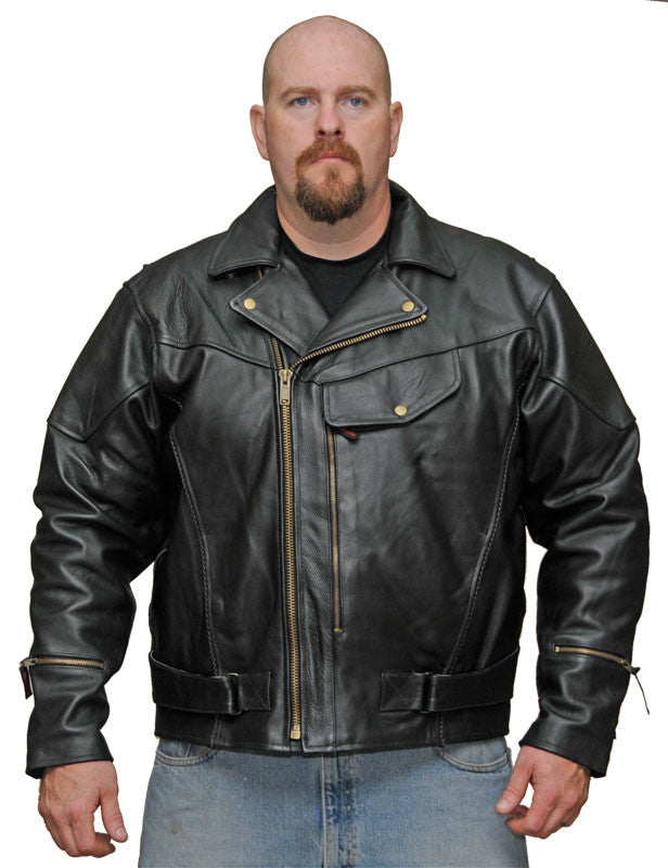 MEN'S MOTORCYCLE MOTORBIKE PISTOL PETE COWHIDE LEATHER JACKET W/ LINER BLACK NEW