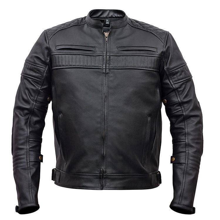 MEN'S MOTORCYCLE BLACK SCOOTER POLICE STYLE LEATHER JACKET