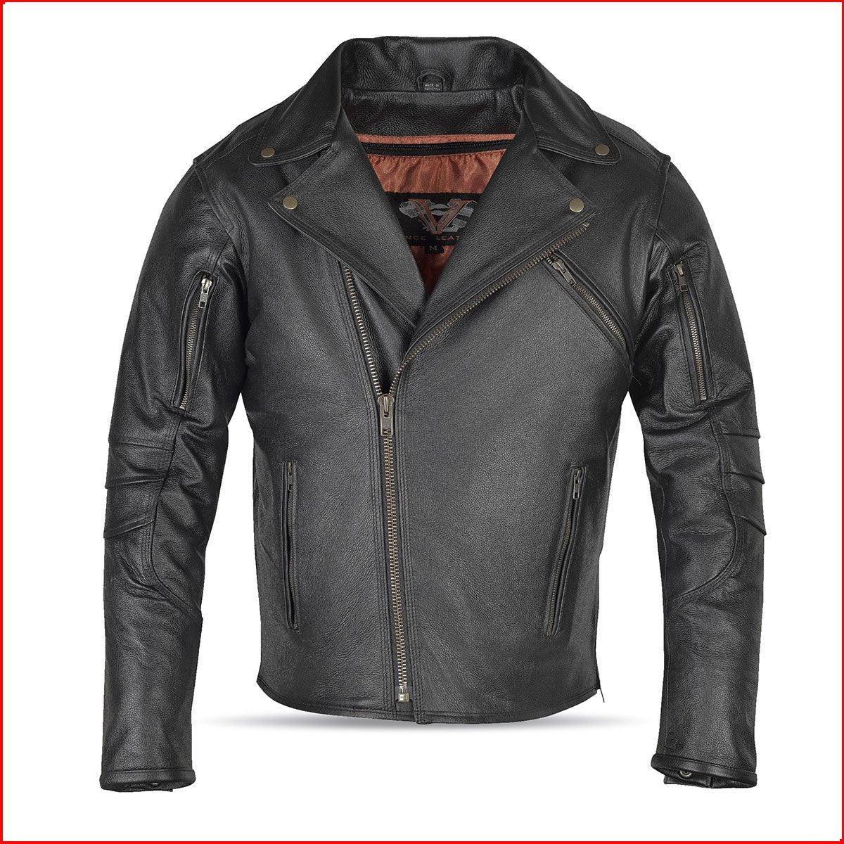 MEN'S POLICE TRIPLE STITCH LEATHER JACKET BLACK (CLOSEOUT)