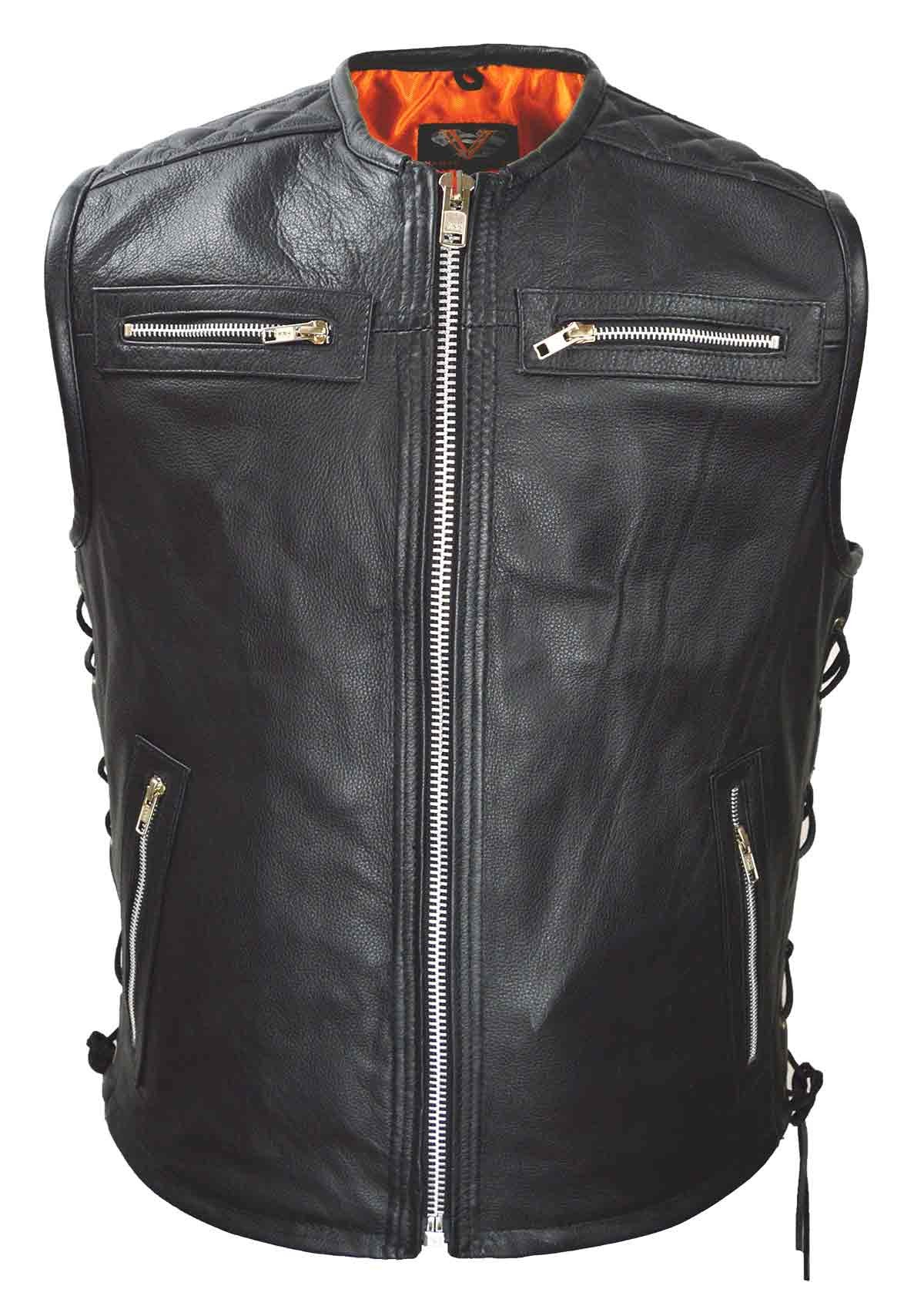 MEN'S MOTORCYCLE SWAT COLLARLESS LEATHER VEST SIDE LACES