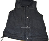MEN'S BLACK DENIM VEST SIDE LACES LIGHT WEIGHT COLLAR