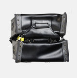 TWO PIECE MOTORBIKE SADDLEBAG STUDS ZIP OFF PVC SADDLEBAG