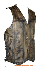 DISTRESSED BROWN 10 POCKETS LEATHER VEST W/ SIDE LACES