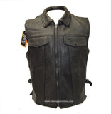 MEN'S SON OF ANARCHY STYLE CLUB LEATHER VEST 2 GUN POCKETS