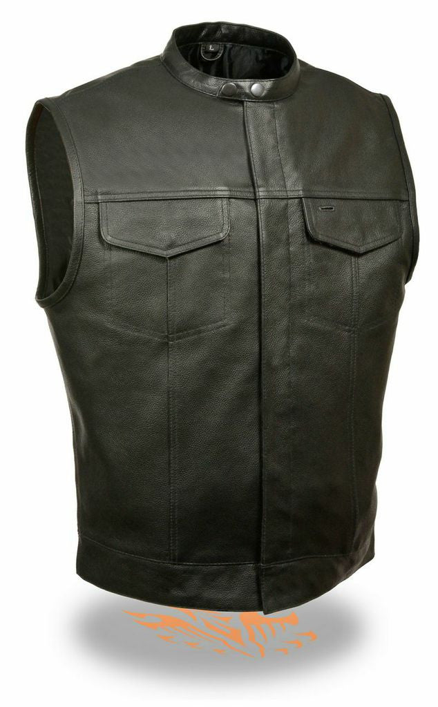 MEN'S LEATHER VEST W/ GUN POCKET INSIDE AND SNAP CLOSURE