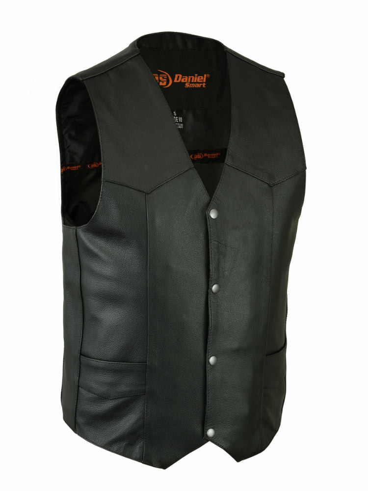 BIKERS PLAIN LEATHER ECONOMY VEST 4 POCKETS