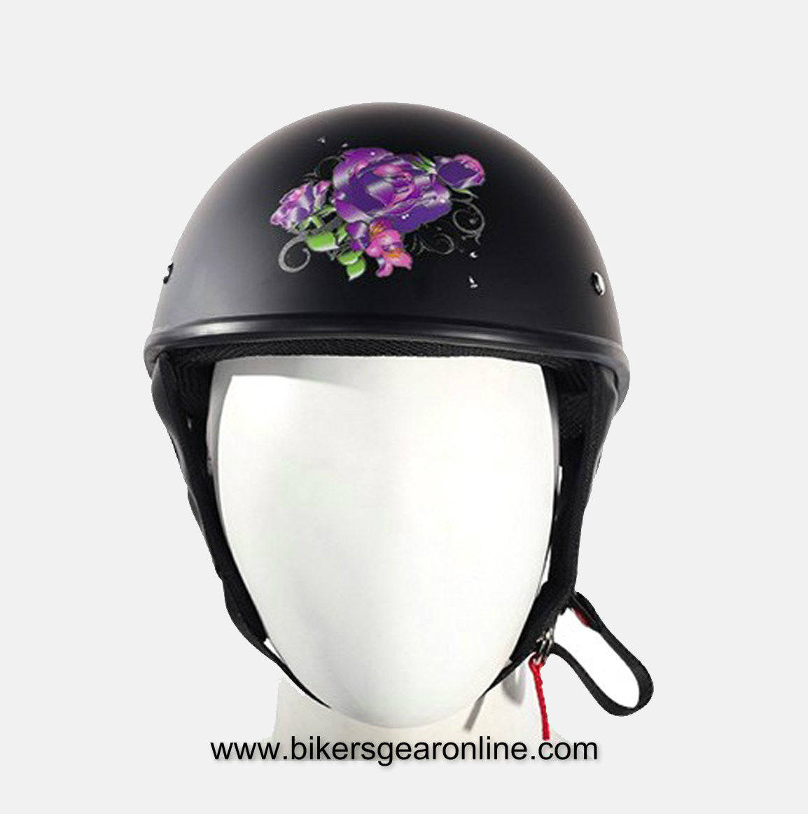 WOMEN'S DOT APPROVED HELMET FLAT W/ PURPLE ROSE TRIBAL