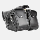 TWO PIECE MOTORCYCLE 2 STRAP ZIP OFF PVC SADDLEBAG