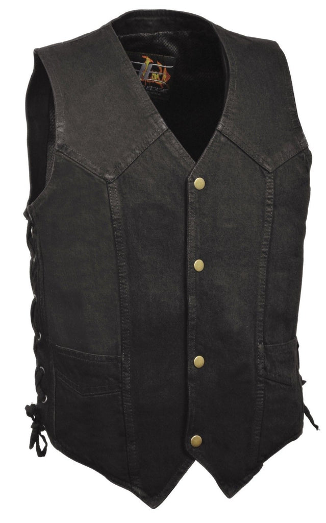 CLASSIC SNAP FRONT BLACK DENIM BIKER VEST SIDE LACES