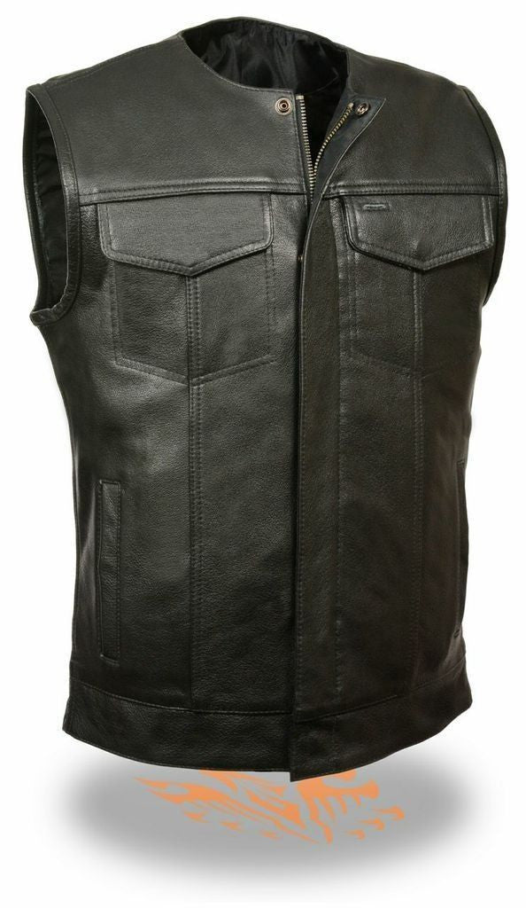 MEN'S CLUB LEATHER VEST 2 GUN POCKETS COLLARLESS