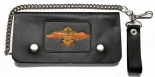 Leather Wallet With Motorcycle & Wings