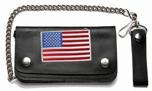 Leather Wallet With USA Flag