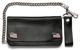 Leather Wallet With USA Flag Pins