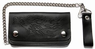 Leather Wallet With Embossed Eagle & Flames